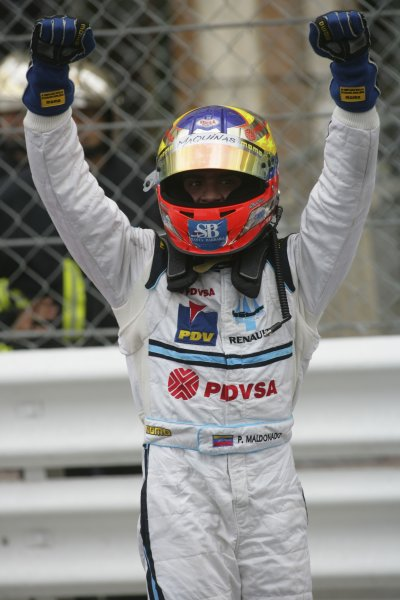 2007 GP2 Series. Round 3. Saturday Race.Monte-Carlo, Monaco. 26th May 2007.Pastor Maldonado (VEN, Trident Racing) celebrates victory. World Copyright: Andrew Ferraro/GP2 Series Media Service ref: Digital ImageZP9O1112