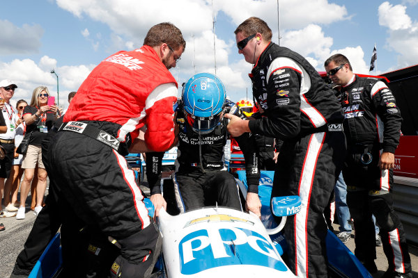 29-31 July, 2016, Lexington, Ohio USA Simon Pagenaud gets lifted from car by crew members after his win due to back injury. ?2016, Michael Levitt LAT Photo USA