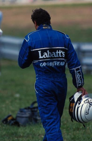 Riccardo Patrese returns to the pits after spinning out of the race on the last lap whilst challenging Senna for 2nd place.