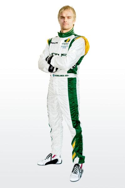 February 2010.Heikki Kovalainen, Lotus T127 Cosworth. Portrait.Photo: Copyright Free - Lotus F1ref: Digital Image Heikki Kovalainen Overalls 2