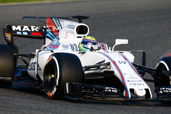 Circuit de Barcelona Catalunya, Barcelona, Spain. Monday 27 February 2017. Felipe Massa, Williams FW40 Mercedes.  World Copyright: Zak Mauger/LAT Images ref: Digital Image _L0U9742