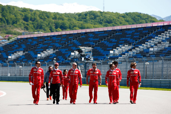 Sochi Autodrom, Sochi, Russia. Thursday 27 April 2017. Sebastian Vettel, Ferrari, conducts a track walk with colleagues, including Jock Clear, Engineering Director, Ferrari.  World Copyright: Andy Hone/LAT Images ref: Digital Image _ONY8659