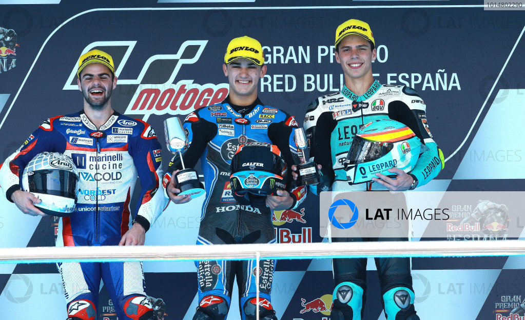 2017 Moto3 Championship - Round 4 Jerez, Spain Sunday 7 May 2017 Podium: race winner Aron Canet, Estrella Galicia 0,0, second place Romano Fenati, Marinelli Rivacold Snipers, third place Joan Mir, Leopard Racing World Copyright: Gold & Goose Photography/LAT Images ref: Digital Image 668716