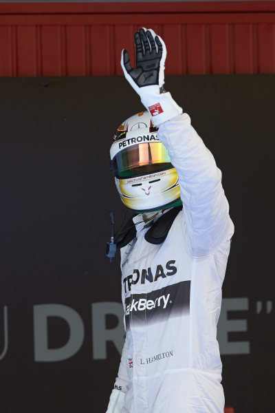 Circuit de Catalunya, Barcelona, Spain. Saturday 10 May 2014. Lewis Hamilton, Mercedes AMG, celebrates pole. World Copyright: Steve EtheringtonLAT Photographic. ref: Digital Image SNE14884 copy