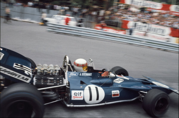 1971 Monaco Grand Prix.  Monte Carlo, Monaco. 20th-23rd May 1971.  Jackie Stewart, Tyrrell 003 Ford, 1st position, corrects a slide coming through Casino Square.  Ref: 71MON01. World Copyright: LAT Photographic