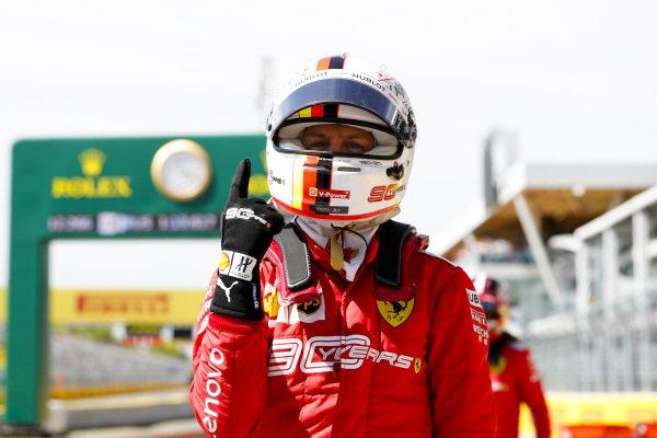 Sebastian Vettel, Ferrari celebrates after taking pole position in Parc Ferme