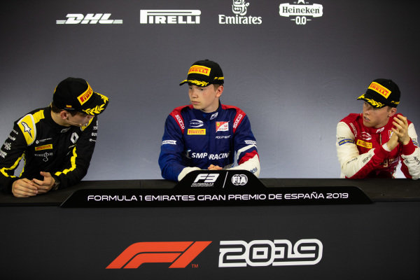 Robert Shwartzman (RUS, PREMA Racing) Christian Lundgaard (DNK, ART Grand Prix) and Marcus Armstrong (NZL, PREMA Racing)