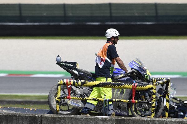 Valentino Rossi, Yamaha Factory Racing crashed bike.