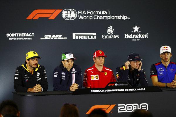 Carlos Sainz Jr, Renault Sport F1 Team, Sergio Perez, Force India, Kimi Raikkonen, Ferrari, Max Verstappen, Red Bull Racing, and Pierre Gasly, Toro Rosso, in the Thursday press conference.