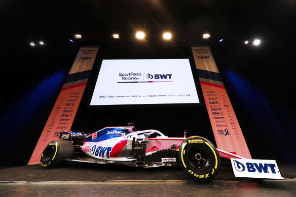 The new SportPesa Racing Point F1 Team RP19 during the SportPesa Racing Point F1 Team Launch in Toronto