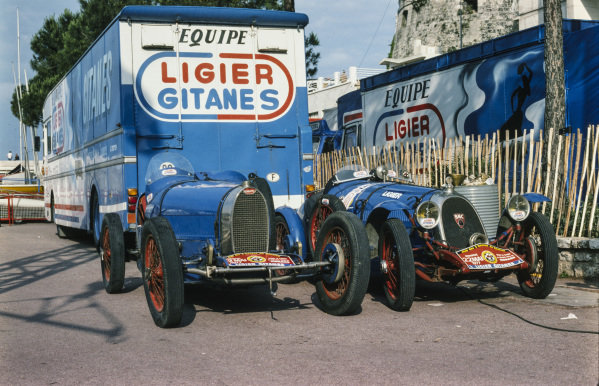 A 1920's Bugatti and BNC car with Ligier branding.