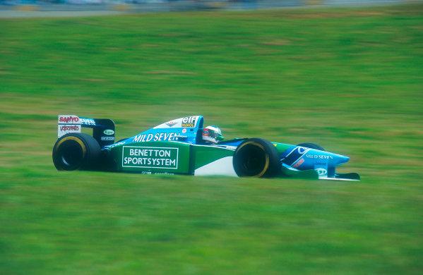 1994 Brazilian Grand Prix. Interlagos, Sao Paulo, Brazil. 25-27 March 1994. Michael Schumacher (Benetton B195 Ford) 1st position. Ref-94 BRA 17. World Copyright - LAT Photographic