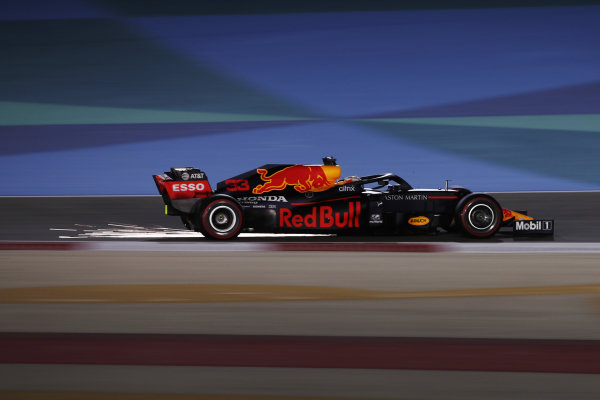 Sparks kick up from Max Verstappen, Red Bull Racing RB16