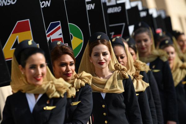 Grid girls at Formula One World Championship, Rd3, Bahrain Grand Prix Race, Bahrain International Circuit, Sakhir, Bahrain, Sunday 16 April 2017. BEST IMAGE