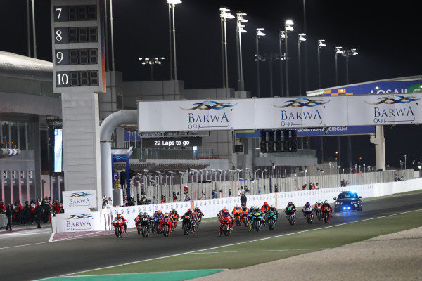 Start action, Francesco Bagnaia, Ducati Team leads.