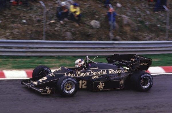 1984 Portuguese Grand Prix.Estoril, Portugal.19-21 October 1984.Nigel Mansell (Lotus 95T Renault).World Copyright - LAT Photographic
