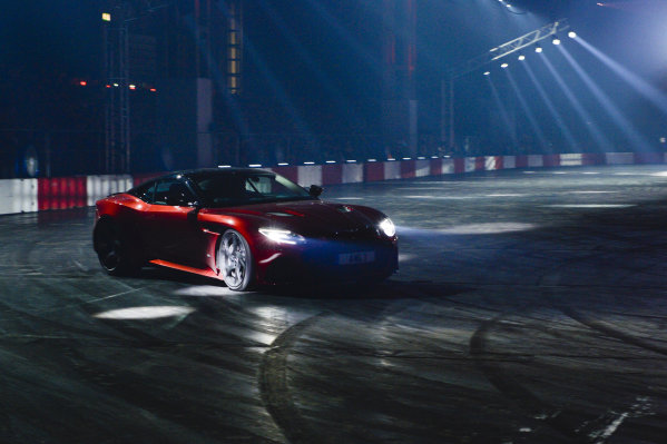 Darren Turner drives an Aston Martin in the Live Action Arena