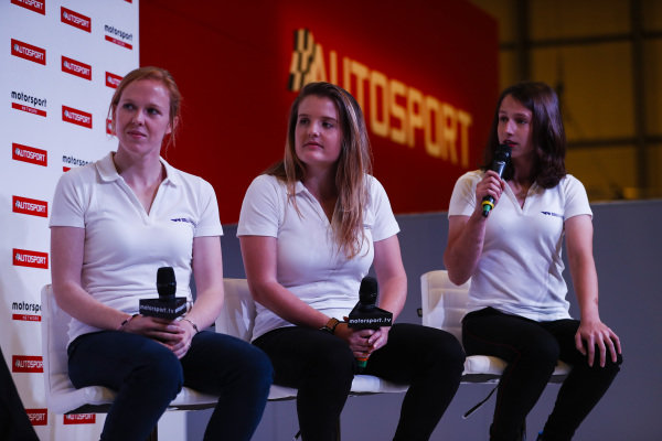W Series drivers Alice Powell, Caitlin Wood and Megan Gilkes talk to Alan Hyde on the Autosport Stage.