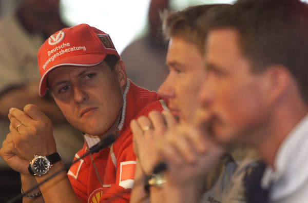 2000 European Grand Prix.Nurburgring, Germany. 19-21 May 2000.Michael Schumacher (Ferrari) at a press conference.18mb DigitalWorld Copyright - LAT Photographic