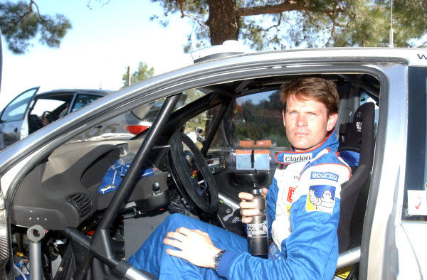 World Rally Championship, Cyprus Rally, April 18-21, 2002.Marcus Gronholm before the first stage of Leg 3.Photo: Ralph Hardwick/LAT