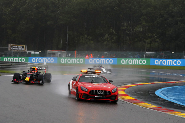 The Safety Car leads Max Verstappen, Red Bull Racing RB16B