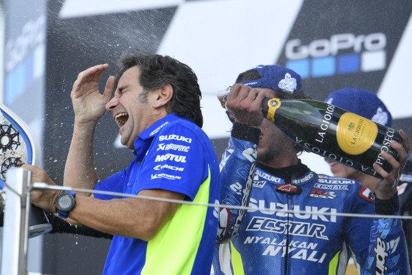 Podium: race winner Alex Rins, Team Suzuki MotoGP, Davide Brivio,  Team Suzuki MotoGP