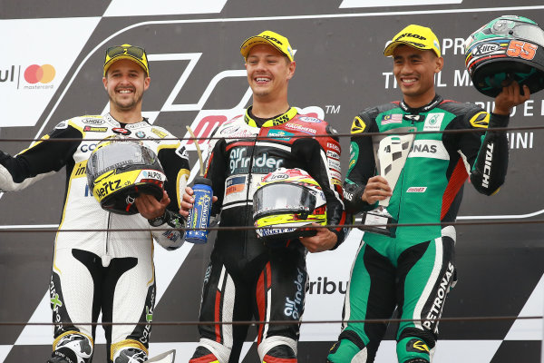 2017 Moto2 Championship - Round 13 Misano, Italy. Sunday 10 September 2017 Podium: race winner Dominique Aegerter, Kiefer Racing, second place Thomas Luthi, CarXpert Interwetten, third place Hafizh Syahrin, Petronas Raceline Malaysia World Copyright: Gold and Goose / LAT Images ref: Digital Image 7892