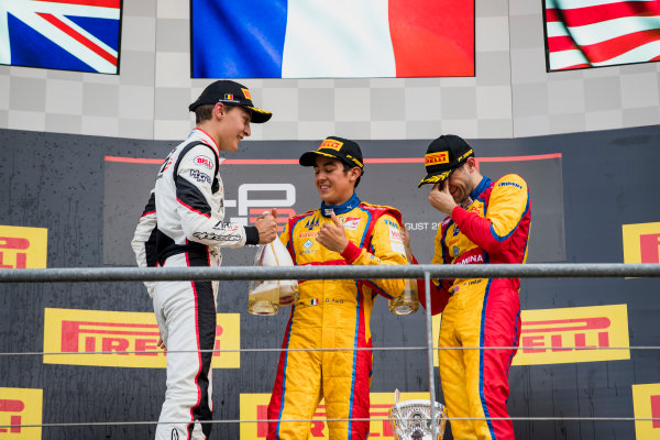 2017 GP3 Series Round 5.  Spa-Francorchamps, Spa, Belgium. Sunday 27 August 2017. George Russell (GBR, ART Grand Prix), Giuliano Alesi (FRA, Trident), Ryan Tveter (USA, Trident).  Photo: Zak Mauger/GP3 Series Media Service. ref: Digital Image _56I3158