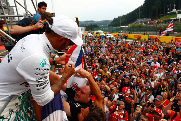 Spa Francorchamps, Belgium.  Sunday 27 August 2017. Lewis Hamilton, Mercedes AMG, 1st Position, celebrates with fans after the race. World Copyright: Sam Bloxham/LAT Images  ref: Digital Image _W6I1763