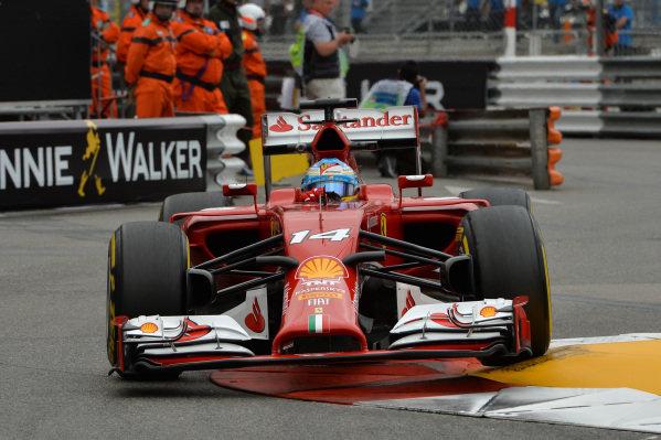 Fernando Alonso (ESP) Ferrari F14 T. Formula One World Championship, Rd6, Monaco Grand Prix, Practice, Monte-Carlo, Monaco, Thursday 22 May 2014.