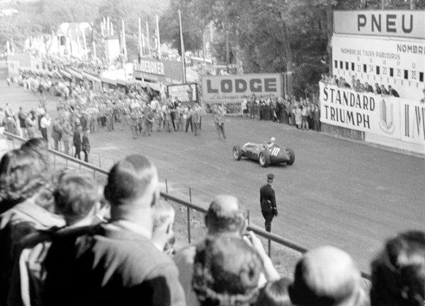 1950 Belgian Grand Prix.Spa-Francorchamps, Belgium. 18 June 1950.Juan Manuel Fangio (Alfa Romeo 158), 1st position.World Copyright - LAT Photographic