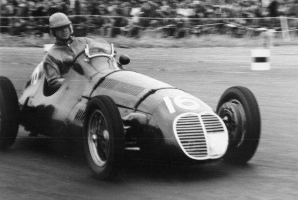 1951 British Grand Prix.Silverstone, Great Britain. 14 July 1951.John James (Maserati 4CLT/48). Ref-51/37 #22.World Copyright - LAT Photographic