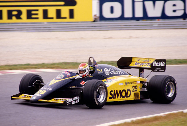 1985 Portuguese Grand Prix.Estoril, Portugal.19-21 April 1985.Pierluigi Martini (Minardi M185 Ford).Ref-85 POR 32.World Copyright - LAT Photographic