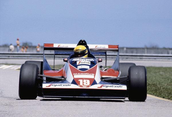 1984 Brazilian Grand Prix.Jacarepagua, Rio de Janeiro, Brazil.23-25 March 1984.Ayrton Senna (Toleman TG183B Hart) on his Grand Prix debut.Ref-84 BRA 71.World Copyright - LAT Photographic
