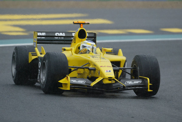 2003 French Grand Prix - Friday 1st Qualifying, Magny-Cours, France.4th July 2003.Giancarlo Fisichella, Jordan Ford EJ13, action.World Copyright LAT Photographic.Digital Image Only.
