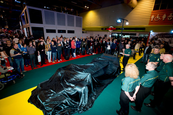 Autosport International Exhibition.  National Exhibition Centre, Birmingham, UK. Thursday 14 January 2016.  Classic Team Lotus prepare for an unveiling. World Copyright: Sam Bloxham/LAT Photographic. ref: Digital Image _SBL6132