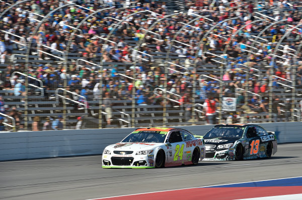 Monster Energy NASCAR Cup Series AAA Texas 500 Texas Motor Speedway Fort Worth, TX USA Sunday 5 November 2017 Chase Elliott, Hendrick Motorsports, Hooters Chevrolet SS, Ty Dillon, Germain Racing, GEICO Military Chevrolet SS World Copyright: John K Harrelson LAT Images