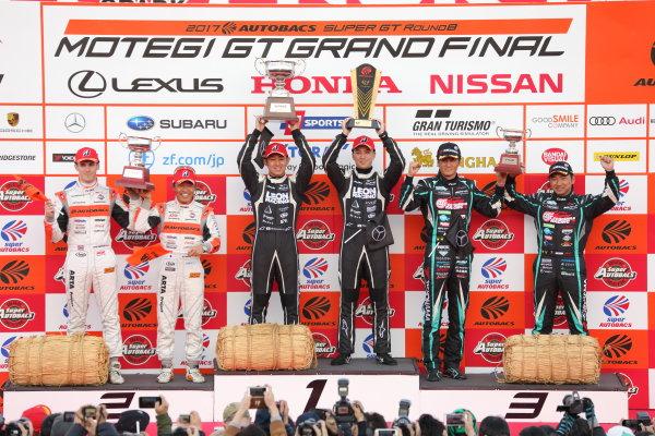 2017 Japanese Super GT Series. Motegi, Japan.  11th - 12th November 2017. Rd 8. GT300 Winner Haruki Kurosawa & Naoya Gamou ( #65  LEON CVSTOS AMG ) 2nd position Shinichi Takagi & Sean Walkinshaw ( #55 ARTA BMW M6 GT3 ) 3rd position Nobuteru Taniguchi & Tatsuya Kataoka ( #4 GOODSMILE HATSUNE MIKU AMG ) podium portrait World Copyright: Yasushi Ishihara/LAT Images ref: Digital Image 2017_SGT_Rd8_015