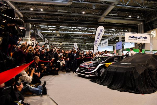 Autosport International Exhibition. National Exhibition Centre, Birmingham, UK. Thursday 11th January 2017. Malcolm Wilson, Sebastien Ogier and Elfyn Evans from M-Sport Ford gather at the WRC season launch.World Copyright: Mark Sutton/Sutton Images/LAT Images Ref: DSC_7237