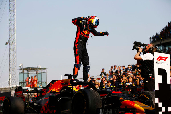 Daniel Ricciardo, Red Bull Racing, celebrates victory in parc ferme.