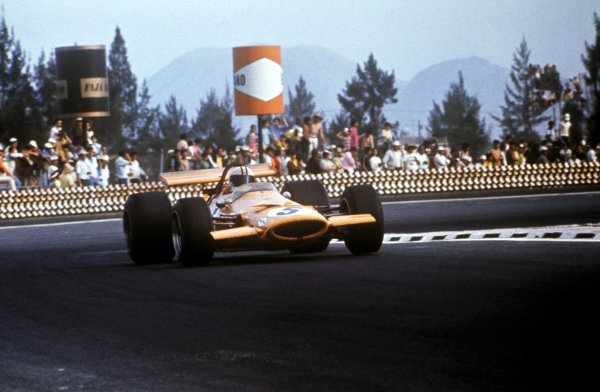 Denny Hulme (NZL) McLaren M7A won the final GP of the season.Mexican Grand Prix, Mexico City, 19 October 1969.BEST IMAGE