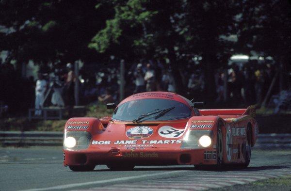 1984 Le Mans 24 hours. Le Mans, France. 16th - 17th June 1984. Peter Brock/Larry Perkins (Porsche 956), retired, action.  World Copyright: LAT Photographic. ref: 84LM19.