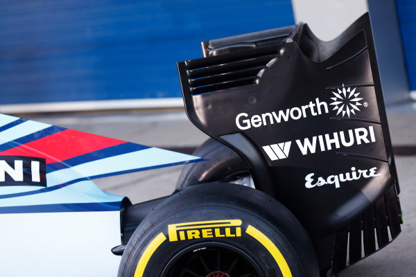 2015 F1 Pre Season Test 1 - Day 1 Circuito de Jerez, Jerez, Spain. Sunday 1 February 2015. Williams FW37 rear wing. World Copyright: Alastair Staley/LAT Photographic. ref: Digital Image _R6T3121