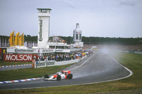 Hockenheim, Germany. 22nd - 24th July 1988. Alain Prost (McLaren MP4/4-Honda), 2nd position, action.  World Copyright: LAT Photographic. Ref: CC