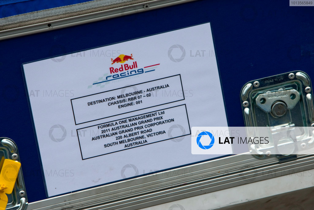 Albert Park, Melbourne, Australia22nd March 2011.A Red Bull Racing case.World Copyright: Alastair Staley/LAT Photographicref: Digital Image _O9T8009