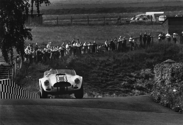 Nurburgring, Germany. 31st May 1964. Rd 7. Bob Olthoff/Paul Hawkins (Shelby-Ford Cobra), 47th position, action.  World Copyright: LAT Photographic. Ref:  L64 - 123 - 7A.