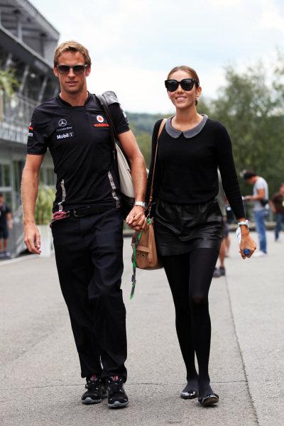 (L to R): Jenson Button (GBR) McLaren with girlfriend Jessica Michibata (JPN). Formula One World Championship, Rd 12, Belgian Grand Prix, Preparations, Spa-Francorchamps, Belgium, Thursday 25 August 2011.  BEST IMAGE