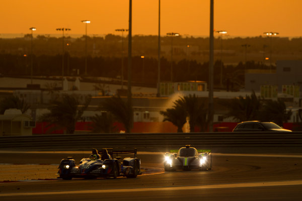 2015 FIA World Endurance Championship Bahrain 6-Hours Bahrain International Circuit, Bahrain Saturday 21 November 2015. Nelson Panciatici, Paul Loup Chatin, Tom Dillmann (#36 LMP2 Signatech Alpine Alpine A450B Nissan) leads Simon Trummer, Pierre Kaffer (#4 LMP1 ByKolles Racing CLM P1/01 AER). World Copyright: Sam Bloxham/LAT Photographic ref: Digital Image _G7C1761