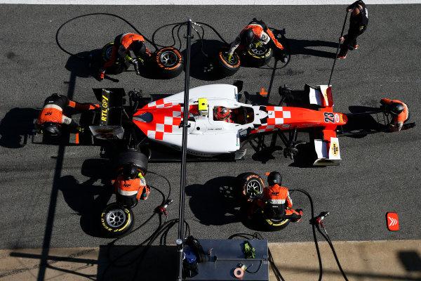2016 GP2 Series Test 1. Circuit de Catalunya, Barcelona, Spain. Friday 11 March 2016. Daniel de Jong (NED, MP Motorsport), makes a pit stop World Copyright: Sam Bloxham/LAT Photographic. ref: Digital Image _L4R9629