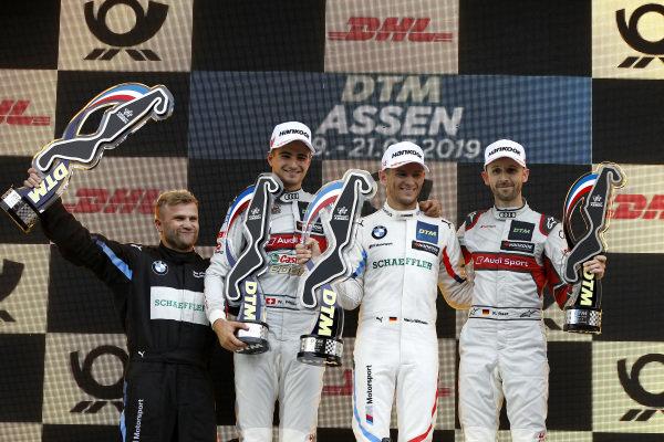 Podium: Race winner Marco Wittmann, BMW Team RMG, second place Nico Müller, Audi Sport Team Abt Sportsline, third place René Rast, Audi Sport Team Rosberg.